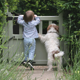 Child and dog at gate
